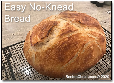 Easy No-Knead Bread cooling on rack