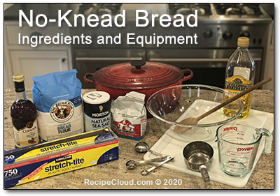 Easy No-Knead Bread: ingredients and equipment